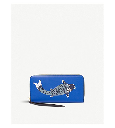 LOEWE Pesce zip around leather wallet (Electric+blue/+blue