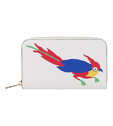 LOEWE Paula's Ibiza parrot zip-around leather wallet (White/multicolor