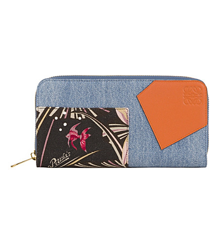 LOEWE Paula's Ibiza puzzle zip-around leather and denim wallet (Multicolour