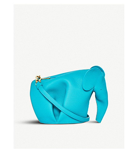 LOEWE Elephant leather mini shoulder bag (Turquoise
