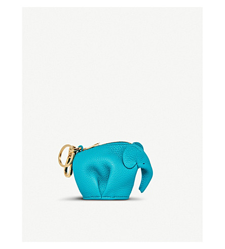 LOEWE Elephant soft grained-leather charm (Turquoise