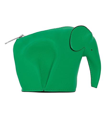 LOEWE Elephant leather coin purse (Light+green