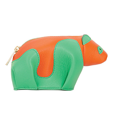 LOEWE Panda leather coin purse (Green/orange