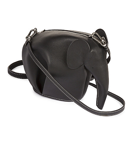 LOEWE Elephant minibag leather shoulder bag (Black/white