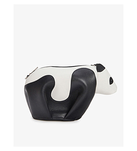LOEWE Panda leather cross-body bag (Black/white