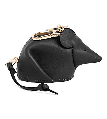 LOEWE Mouse leather charm (Black