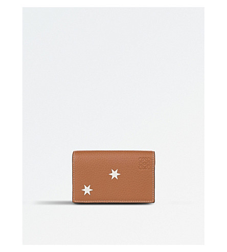 LOEWE Stars leather business card holder (Tan