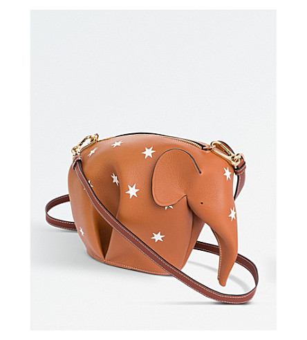 LOEWE Elephant star-detail minibag leather shoulder bag (Tan/white