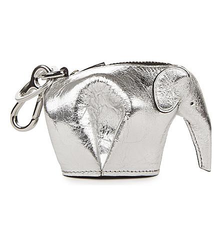 LOEWE Elephant metallic-leather charm (Silver