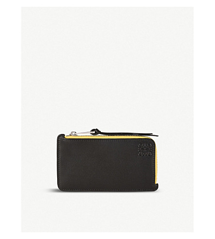 LOEWE Rainbow leather coin and card holder (Multicolor/black