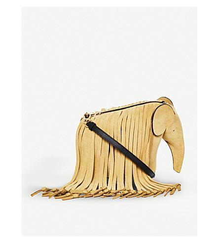 LOEWE Elephant Fringes minibag leather shoulder bag (Gold