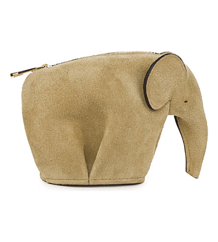 LOEWE Elephant suede coin purse (Gold