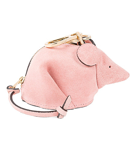 LOEWE Mouse suede charm (Pink