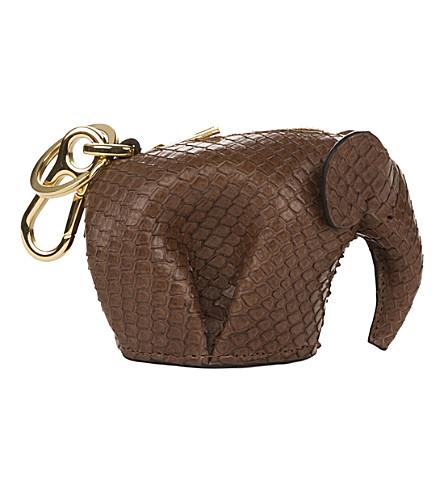 LOEWE Elephant python-leather charm (Hazelnut