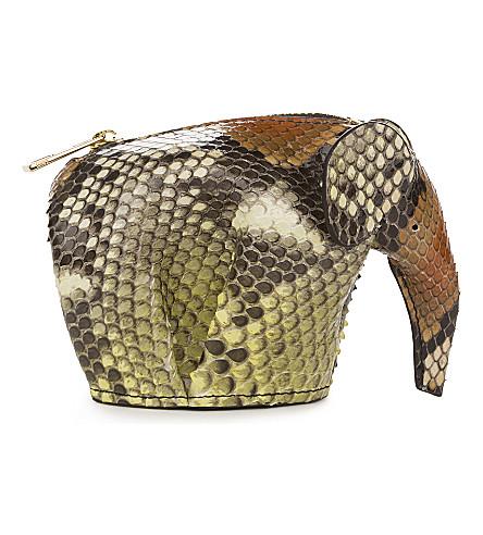 LOEWE Elephant python-leather coin purse (Yellow/tan