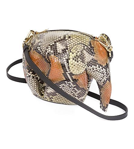 LOEWE Elephant mini python-leather shoulder bag (Yellow/tan