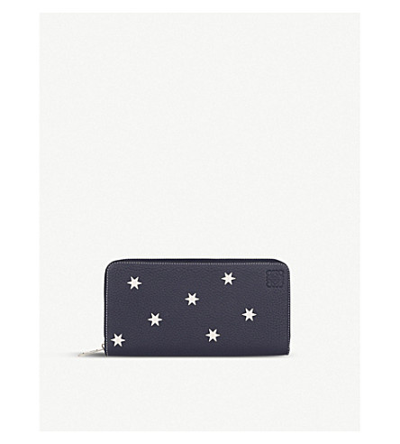 LOEWE Stars zip around leather wallet (Navy/white