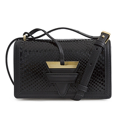 LOEWE Barcelona small python and leather shoulder bag (Black