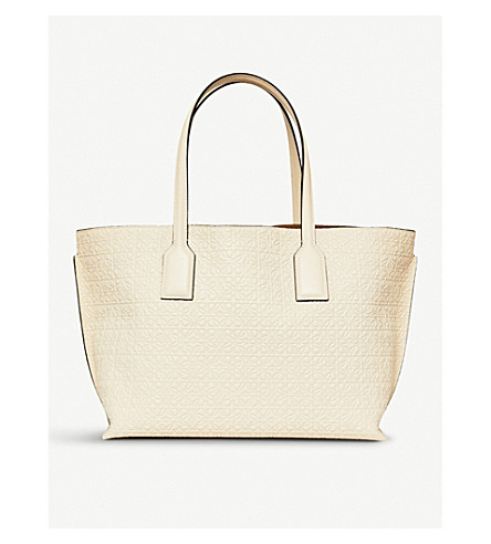 LOEWE Anagrammed leather T Shopper bag (Ivory