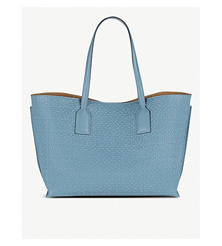 LOEWE Anagrammed leather T Shopper bag Stone blue Cheap Countdown Package 5OciQSBbDA