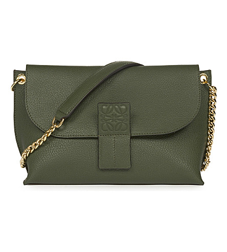LOEWE Avenue leather cross-body bag (Dark+green/grey