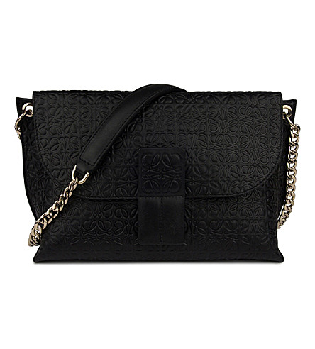 LOEWE Avenue embossed leather cross-body bag (Black