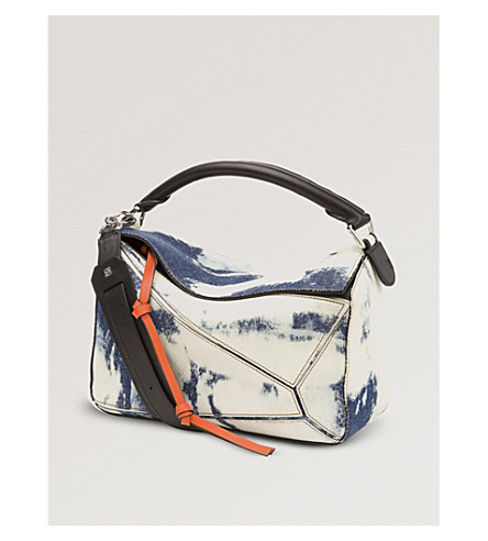 LOEWE Puzzle Bleached denim shoulder bag (Blue+denim/wte/blk