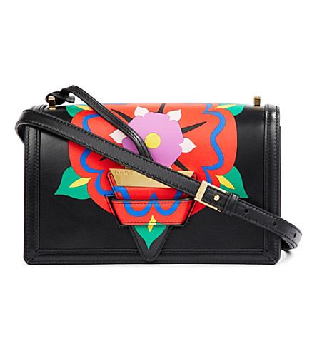LOEWE Barcelona flower leather shoulder bag (Black