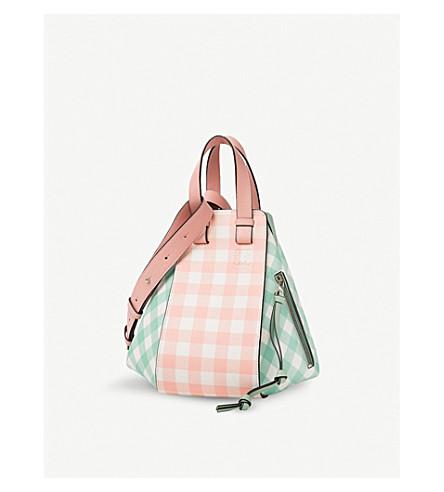 LOEWE Hammock small gingham leather bag (Salmon/+green