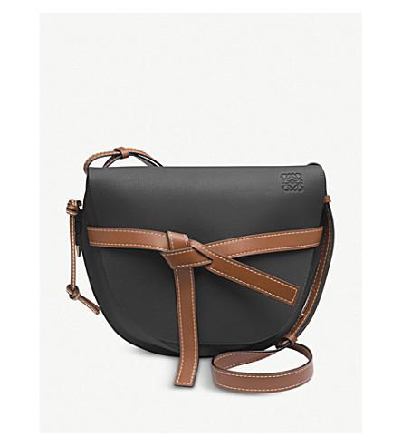 shoulder pecan leather Black color bag bag Gate leather Black color Gate LOEWE pecan LOEWE shoulder Gate LOEWE A018w7qw