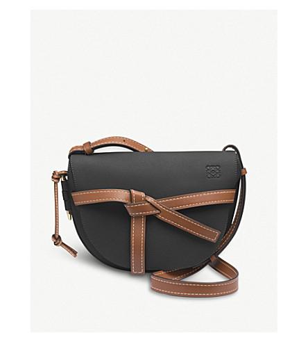 LOEWE Gate small leather shoulder bag (Black/pecan+color
