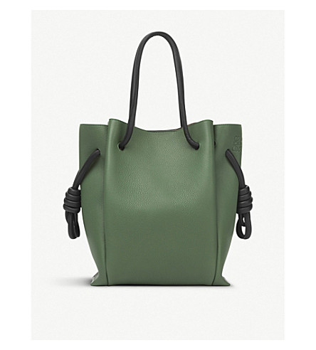 LOEWE Flamenco Knot small leather bag (Forest+green/black