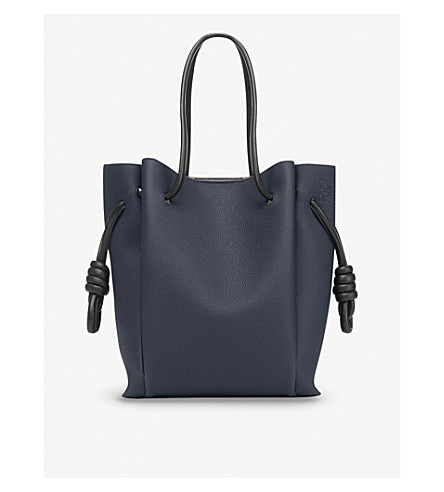 LOEWE Flamenco Knot small leather bag (Midnight+blue/black