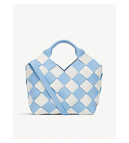 LOEWE Gingham woven leather basket bag (Soft+blue/white