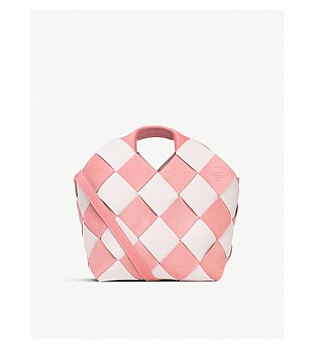 LOEWE Gingham mini woven leather basket bag (Soft+pink/white