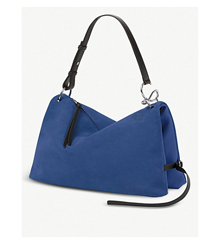LOEWE Tent large leather shoulder bag (Pacific+blue/black