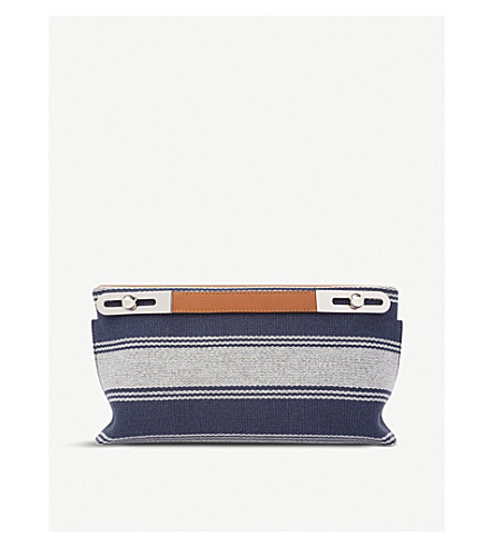 LOEWE Missy small stripe leather bag (Navy+blue/tan