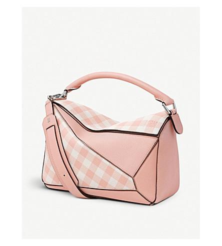 LOEWE Puzzle gingham leather shoulder bag (Salmon