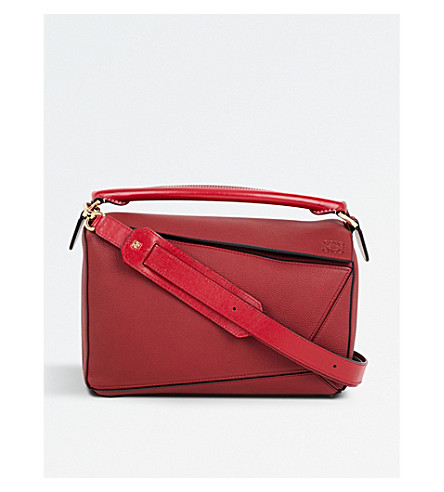 LOEWE Puzzle leather shoulder bag (Rouge