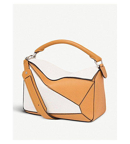 LOEWE Puzzle panelled leather shoulder bag (Soft+white/amber