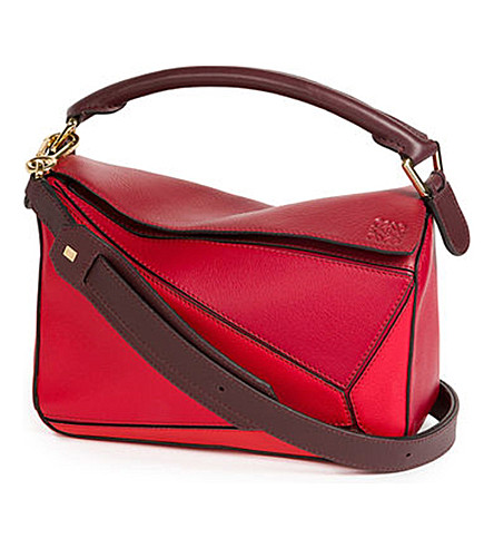 LOEWE Puzzle leather shoulder bag (Red+multitone