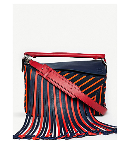 LOEWE Puzzle Fringes leather shoulder bag (Navy/red