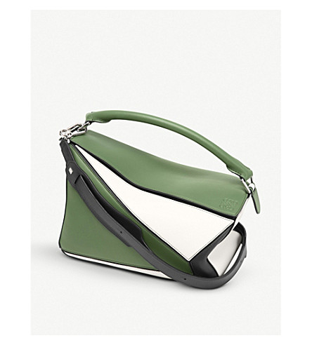 LOEWE Puzzle panelled leather shoulder bag (Forest+green/white/b