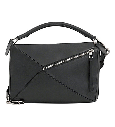 LOEWE Puzzle leather shoulder bag large (Black