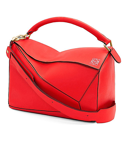 LOEWE Puzzle leather shoulder bag large (Primary+red