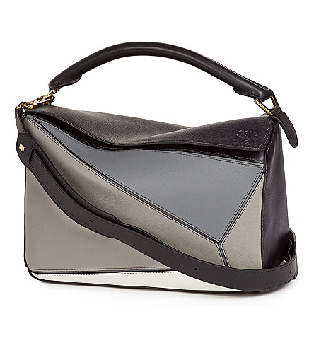 LOEWE Puzzle leather shoulder bag (Grey+multitone
