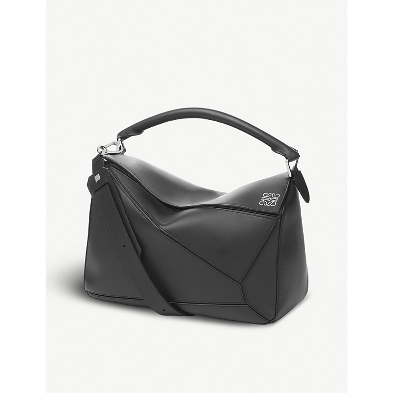 LOEWE BLACK PUZZLE LEATHER SHOULDER BAG