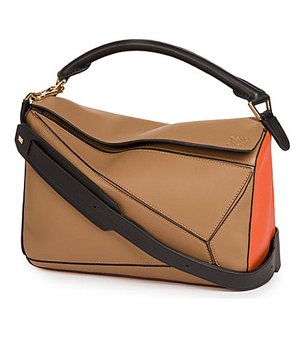 LOEWE Puzzle leather shoulder bag (Mink+color/coral