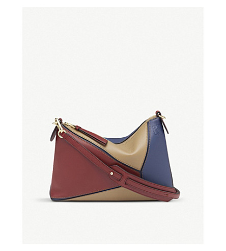 LOEWE Puzzle Mini leather shoulder bag (Brick+red/almond