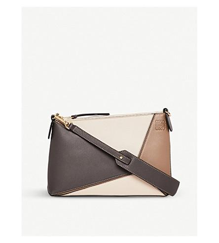 LOEWE Puzzle Mini leather shoulder bag (Dark+taupe+multitone